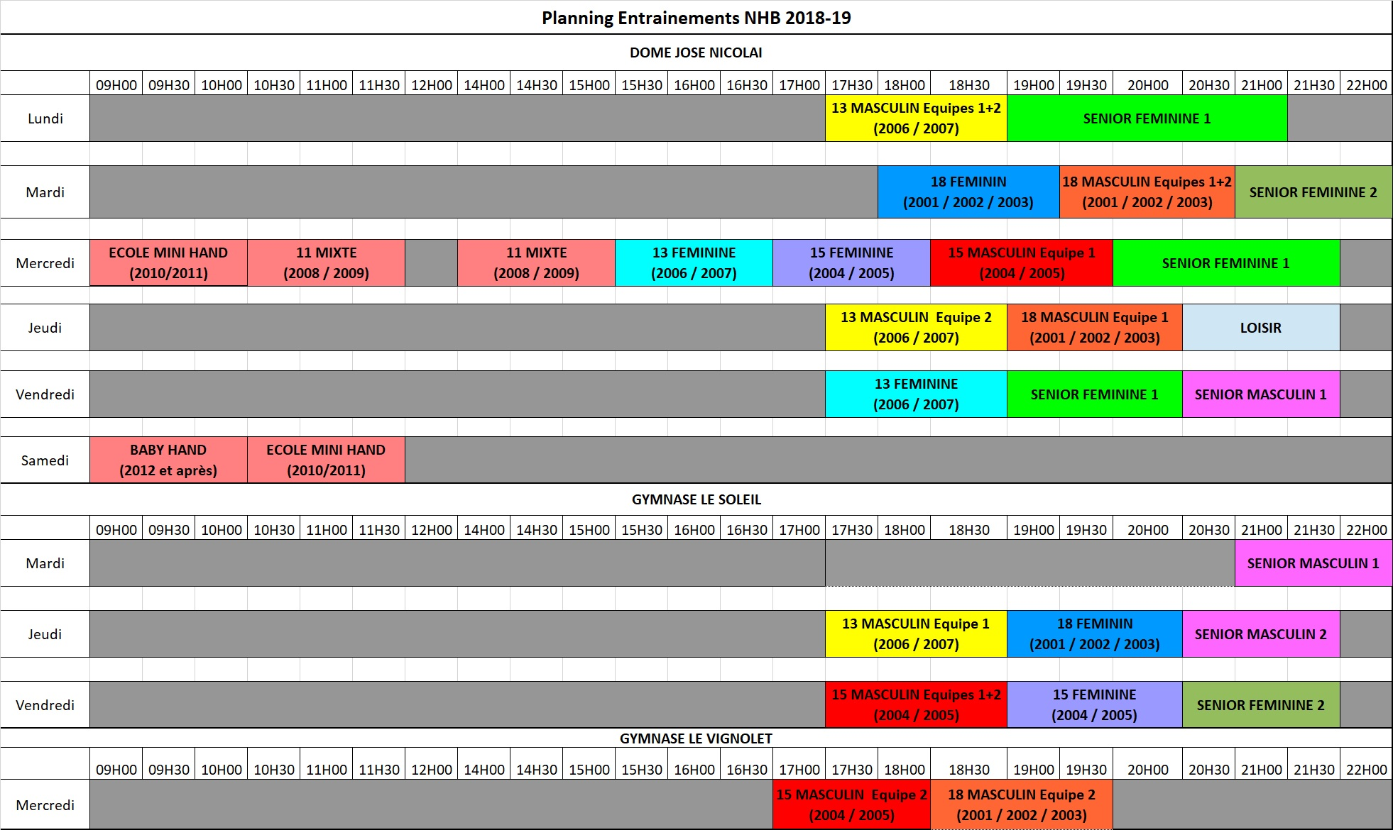 planning entrainements NHB 18 19